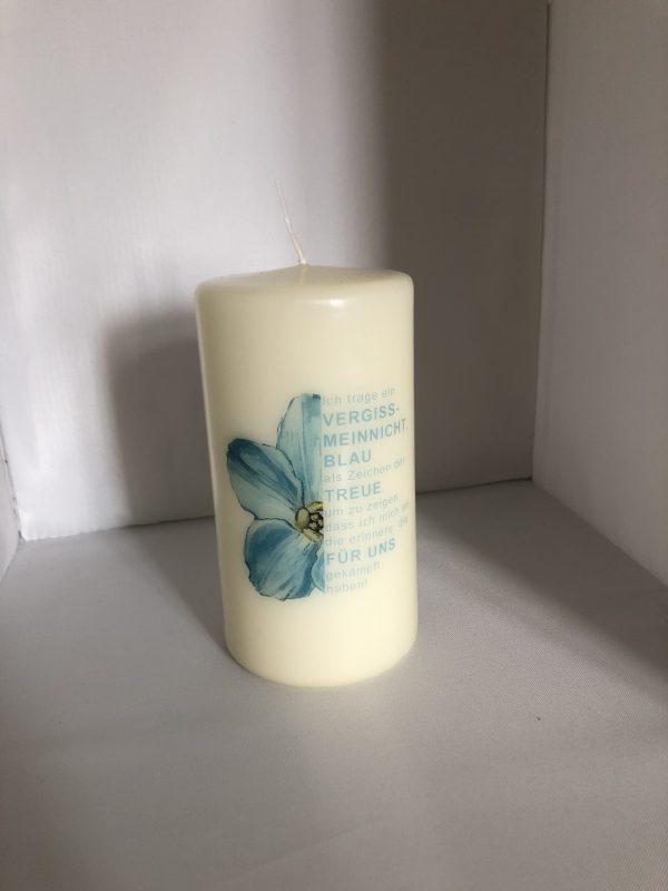 Vergissmeinnicht-Kerze, groß (15cm Höhe, 8cm Durchmesser)