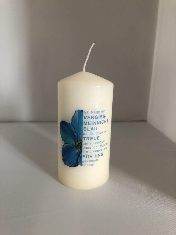 Vergissmeinnicht-Kerze, klein (10cm Höhe, 5cm Durchmesser)